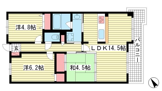 物件番号: 1025874749 ジオコート元町山手  神戸市中央区下山手通8丁目 3LDK マンション 間取り図