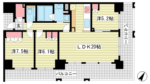 物件番号: 1025874759 ワコーレ神戸三宮トラッドタワー  神戸市中央区磯上通4丁目 3LDK マンション 間取り図