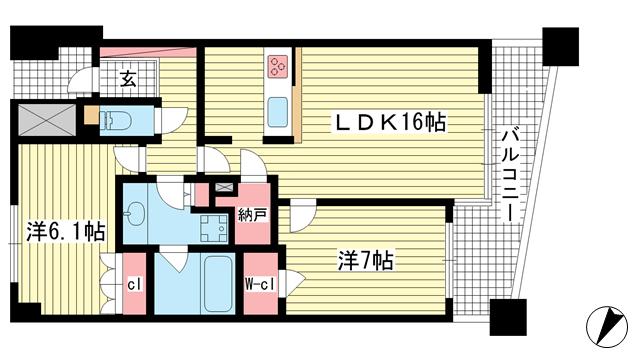物件番号: 1025874773 パークスクエア神戸山本通  神戸市中央区山本通5丁目 2LDK マンション 間取り図