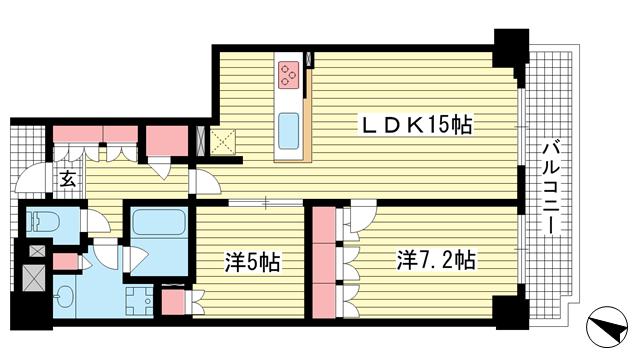 物件番号: 1025874774 ジ・アーバネックスタワー神戸元町通  神戸市中央区元町通6丁目 2LDK マンション 間取り図