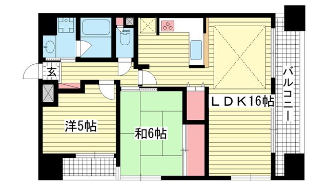 物件番号: 1025874783 パルメーラ神戸駅前  神戸市中央区多聞通2丁目 2LDK マンション 間取り図