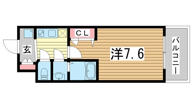 物件番号: 1025874816 アドバンス三宮グルーブ  神戸市中央区東雲通1丁目 1K マンション 間取り図