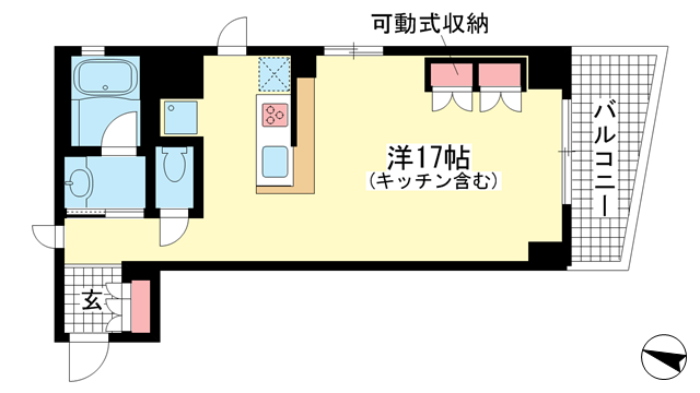 物件番号: 1025874898 ワコーレ海岸通I.C.  神戸市中央区海岸通4丁目 1R マンション 間取り図