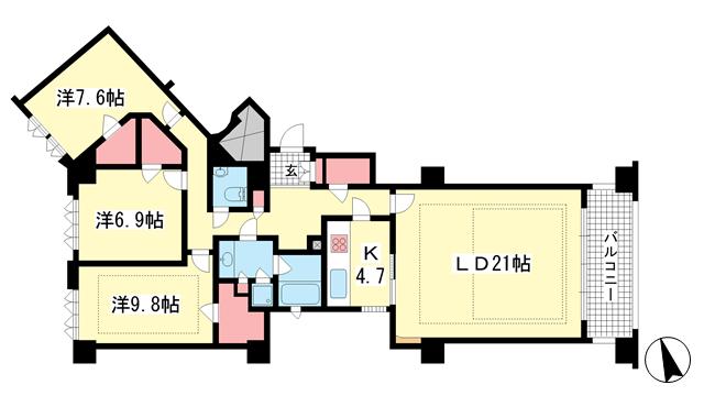 物件番号: 1025874945 オーキッドコート湖南館  神戸市東灘区西岡本2丁目 3LDK マンション 間取り図