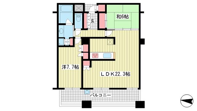 物件番号: 1025874950 D'グラフォート神戸三宮タワー  神戸市中央区八幡通4丁目 2LDK マンション 間取り図