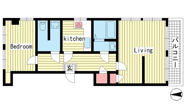 物件番号: 1025874951 ラジマンション  神戸市中央区山本通2丁目 2K マンション 間取り図