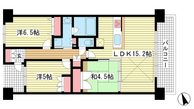物件番号: 1025874953 ワコーレシティ神戸三宮  神戸市中央区浜辺通6丁目 3LDK マンション 間取り図