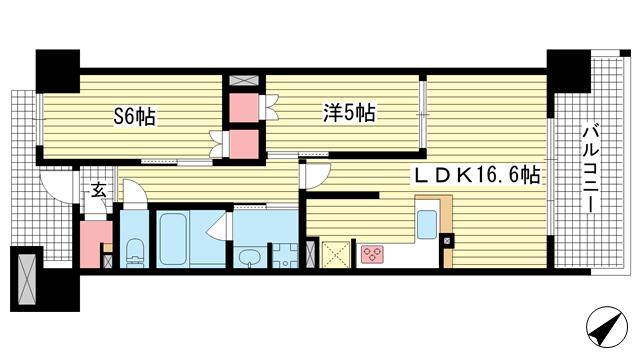物件番号: 1025874954 ワコーレ神戸三宮トラッドタワー  神戸市中央区磯上通4丁目 1SLDK マンション 間取り図