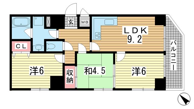 物件番号: 1025874958 ローレル北野中山手通  神戸市中央区中山手通3丁目 2LDK マンション 間取り図