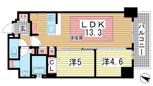 物件番号: 1025874982 アーバネックスみなと元町Ⅱ  神戸市中央区元町通4丁目 2LDK マンション 間取り図