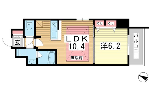 物件番号: 1025875023 アーバネックスみなと元町Ⅱ  神戸市中央区元町通4丁目 1LDK マンション 間取り図