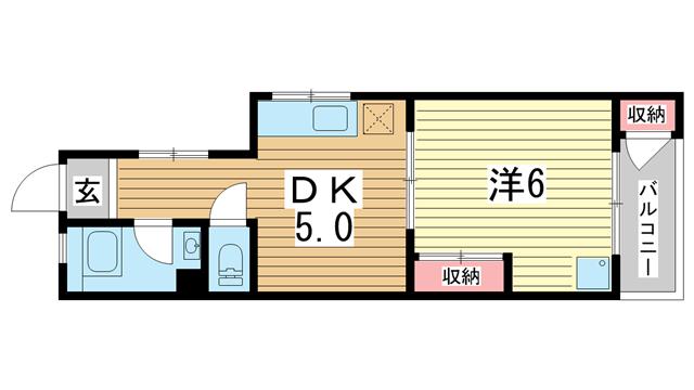 物件番号: 1025875029 平野マンション  神戸市兵庫区上三条町 1DK マンション 間取り図