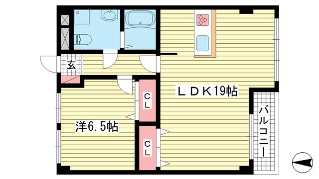 物件番号: 1025875040 上春日野ハイツ  神戸市中央区神仙寺通4丁目 1LDK マンション 間取り図