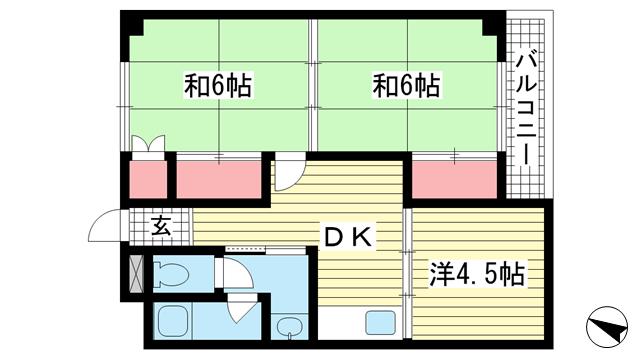 物件番号: 1025875041 上春日野ハイツ  神戸市中央区神仙寺通4丁目 3DK マンション 間取り図