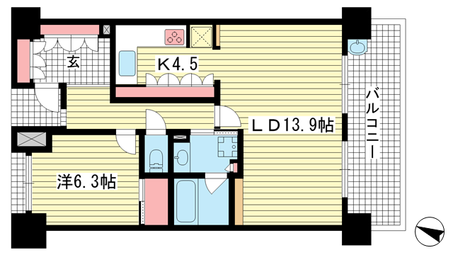 物件番号: 1025875044 ザ・パークハウス神戸トアロード  神戸市中央区中山手通2丁目 1LDK マンション 間取り図