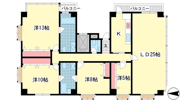 物件番号: 1025875045 プラシャンティ  神戸市中央区野崎通7丁目 4LDK マンション 間取り図