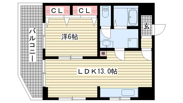 物件番号: 1025875059 ハイツ材井  神戸市兵庫区大開通5丁目 1LDK マンション 間取り図