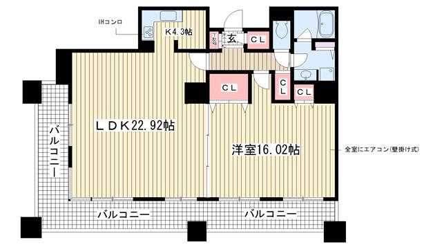 物件番号: 1025875060 三宮ミュージアムタワー  神戸市中央区磯辺通4丁目 3LDK マンション 間取り図