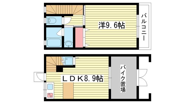 物件番号: 1025875068 CASA MARE  神戸市兵庫区五宮町 1LDK ハイツ 間取り図