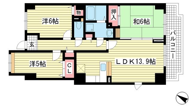 物件番号: 1025875074 シーバース神戸  神戸市兵庫区上沢通3丁目 3LDK マンション 間取り図
