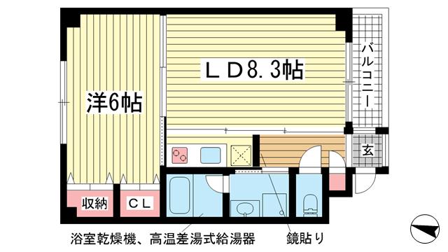 物件番号: 1025875075 G-BLOCK  神戸市中央区下山手通8丁目 1LDK マンション 間取り図