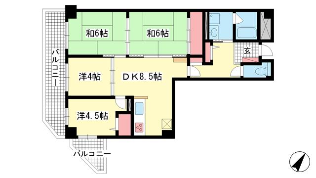 物件番号: 1025875076 ライオンズマンション湊川公園  神戸市兵庫区下沢通1丁目 4DK マンション 間取り図