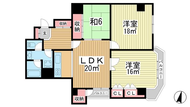 物件番号: 1025875081 北野タウンハウス  神戸市中央区山本通3丁目 3LDK マンション 間取り図