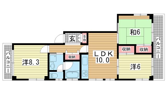 物件番号: 1025875174 山手ハイツ  神戸市中央区中山手通4丁目 3LDK マンション 間取り図