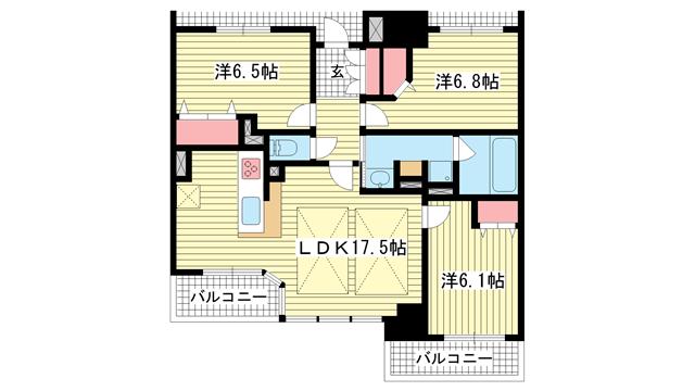 物件番号: 1025875186 アパタワーズ神戸三宮  神戸市中央区磯辺通4丁目 3LDK マンション 間取り図