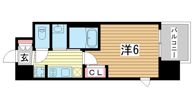 物件番号: 1025875201 エステムコート三宮EASTⅣザ・フロント  神戸市中央区宮本通7丁目 1K マンション 間取り図