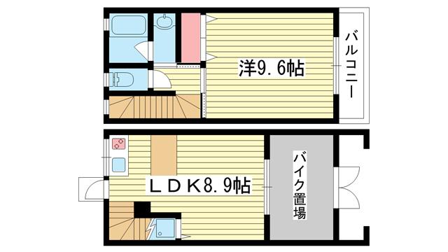 物件番号: 1025875215 CASA MARE  神戸市兵庫区五宮町 1LDK ハイツ 間取り図