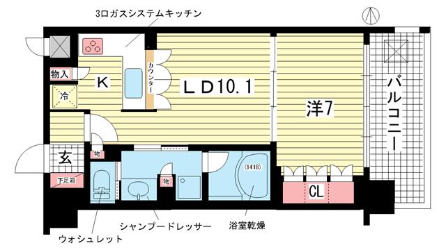 物件番号: 1025875216 リーガル神戸三宮  神戸市中央区磯辺通3丁目 1LDK マンション 間取り図