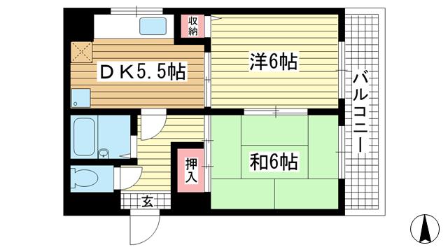 物件番号: 1025875220 シャルムMITI  神戸市中央区下山手通8丁目 2DK マンション 間取り図