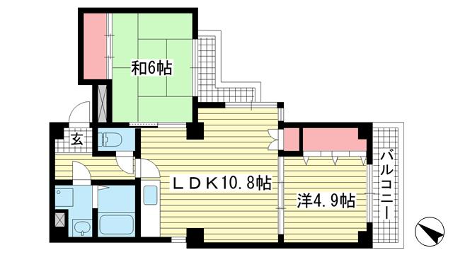 物件番号: 1025875221 アビタシオン山手  神戸市中央区中山手通7丁目 2LDK マンション 間取り図
