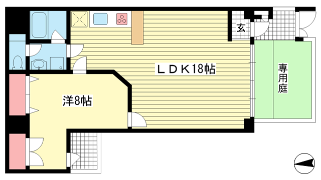 物件番号: 1025875316 朝日プラザ新神戸  神戸市中央区生田町1丁目 1LDK マンション 間取り図