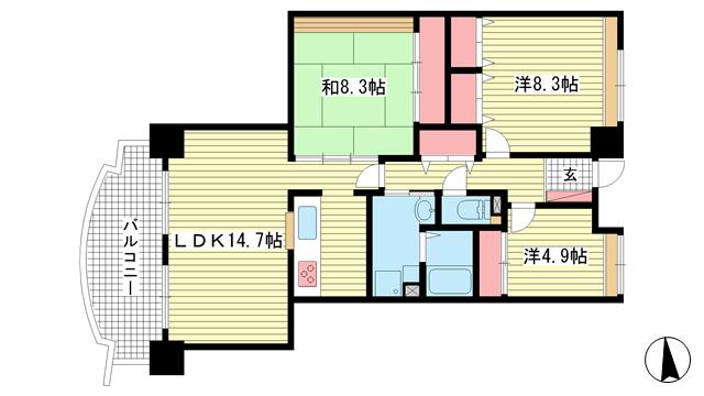 物件番号: 1025875317 東町・江戸町ビル  神戸市中央区江戸町 3LDK マンション 間取り図