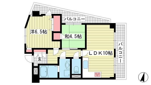 物件番号: 1025875319 ローレル三宮  神戸市中央区琴ノ緒町1丁目 2LDK マンション 間取り図