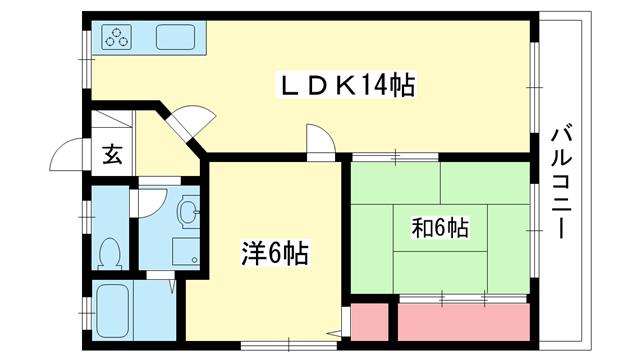 物件番号: 1025875320 北野マンション2号棟  神戸市中央区北野町2丁目 2LDK マンション 間取り図