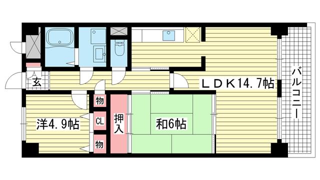物件番号: 1025875328 新神戸ネクステージ  神戸市中央区生田町3丁目 2LDK マンション 間取り図