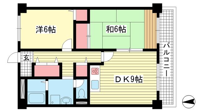 物件番号: 1025875347 琵琶サンライフ  神戸市灘区琵琶町3丁目 2DK マンション 間取り図