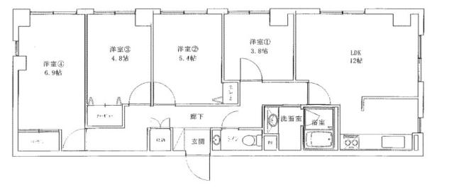 物件番号: 1025875349 阿部ビル  神戸市中央区北長狭通2丁目 4LDK マンション 間取り図