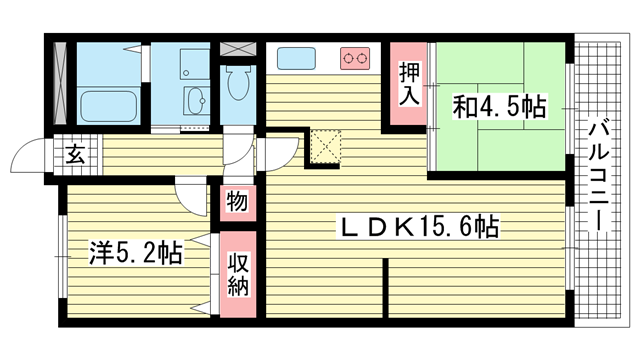 物件番号: 1025875352 ソフィア灘  神戸市灘区大石東町4丁目 2LDK マンション 間取り図