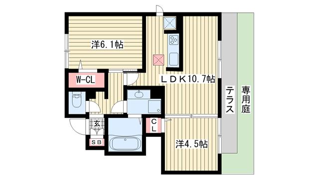 物件番号: 1025875365 レガロ鈴蘭 I棟  神戸市北区杉尾台1丁目  アパート 間取り図