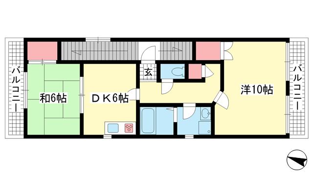 物件番号: 1025875387 アーバンビュー六甲  神戸市灘区永手町3丁目 2DK マンション 間取り図
