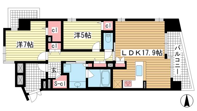 物件番号: 1025875420 レジュール ザ・元町駅前  神戸市中央区北長狭通4丁目 2LDK マンション 間取り図