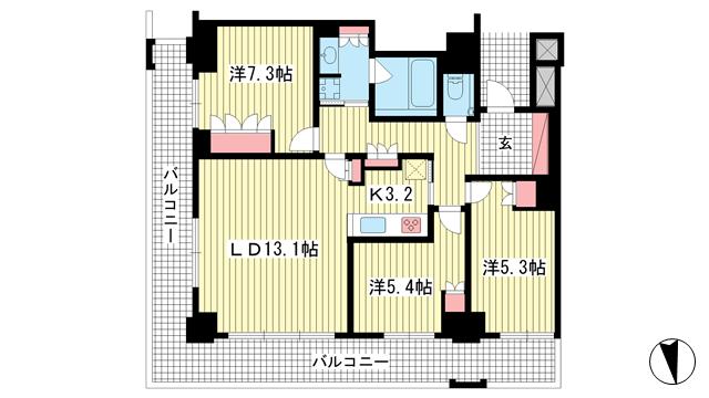 物件番号: 1025875421 神戸ハーバータワー  神戸市中央区海岸通6丁目 3LDK マンション 間取り図
