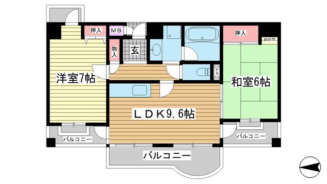 物件番号: 1025875427 テイズコート  神戸市東灘区甲南町3丁目 2LDK マンション 間取り図