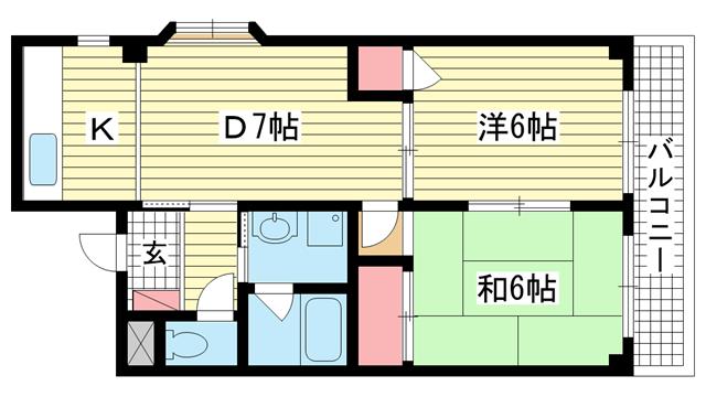 物件番号: 1025875428 クヴェレ御影  神戸市東灘区御影中町1丁目 2DK マンション 間取り図