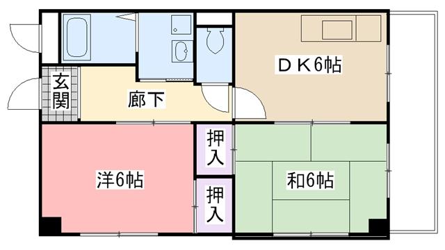 物件番号: 1025875489 長谷川ハイツ  神戸市中央区旗塚通3丁目 2DK マンション 間取り図
