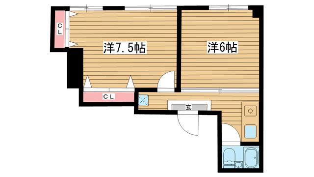 物件番号: 1025875505 洪マンション  神戸市中央区神若通1丁目 2K マンション 間取り図